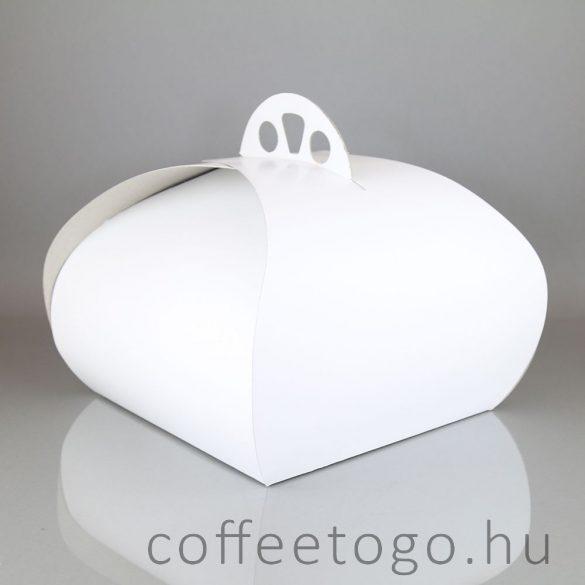 Süteményes díszdoboz 20 x 20 x 16cm (fehér)