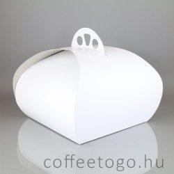 Süteményes díszdoboz 26x26x18cm fehér