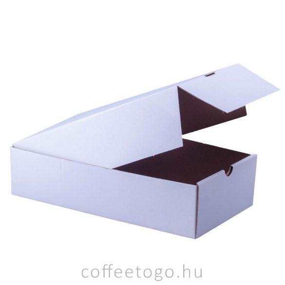 Süteményes fedeles papírdoboz 17x31x8cm fehér