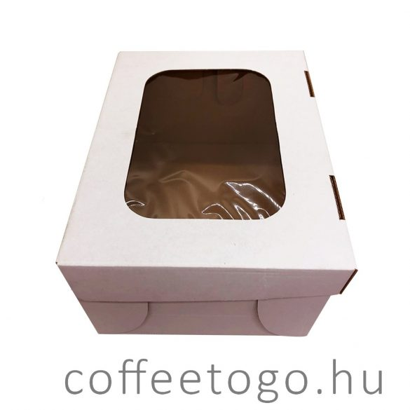 Süteményes fedeles papírdoboz 18x24x12cm fehér, ablakos