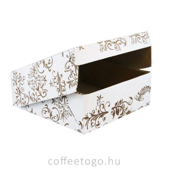 Süteményes doboz 19x19x10cm mintás