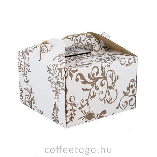 Süteményes doboz 19 x 19 x 12cm (mintás) (füles)