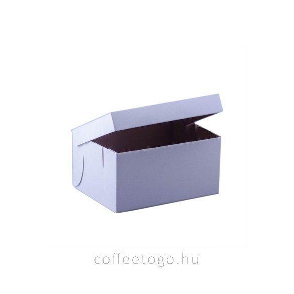 Süteményes fedeles papírdoboz 24x18x12cm fehér