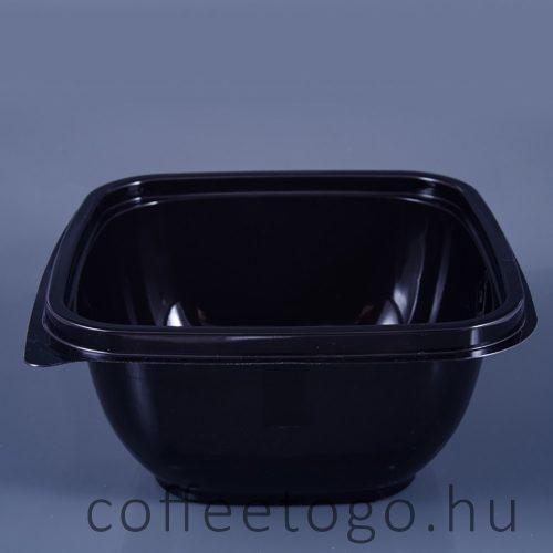 Négyzetes alj 500ml fekete (K) 16x16cm