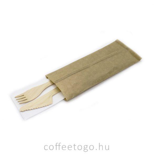 Csomagolt fa evőeszköz 3 részes kés, villa + szalvéta