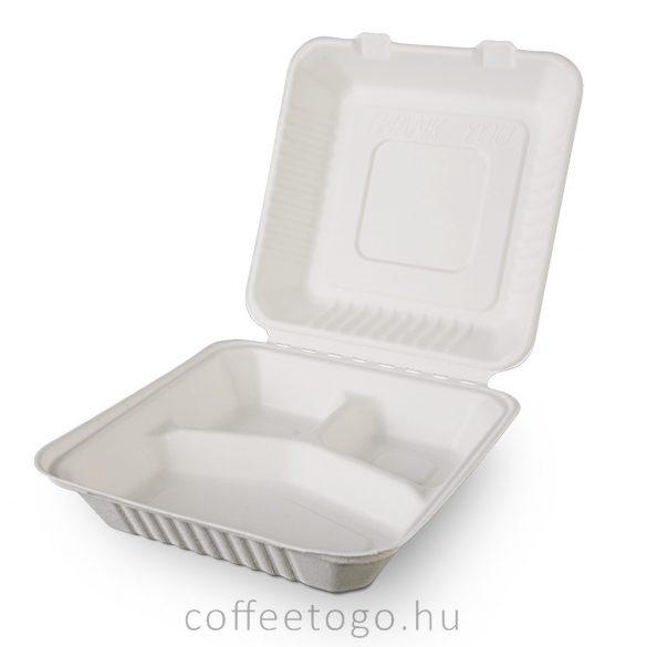 Lebomló cukornád menübox, 3 részes 20,5x20,5x6,6cm