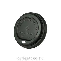 Fekete lebomló CPLA  tető 220ml-es papírpohárhoz (80mm)