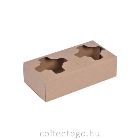 Elviteles papír pohártartó 2 poharas, kraft