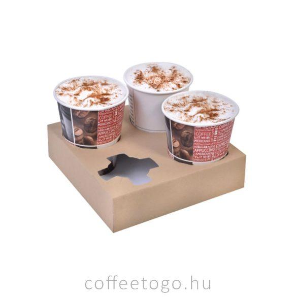 Elviteles papír pohártartó 4 poharas, kraft