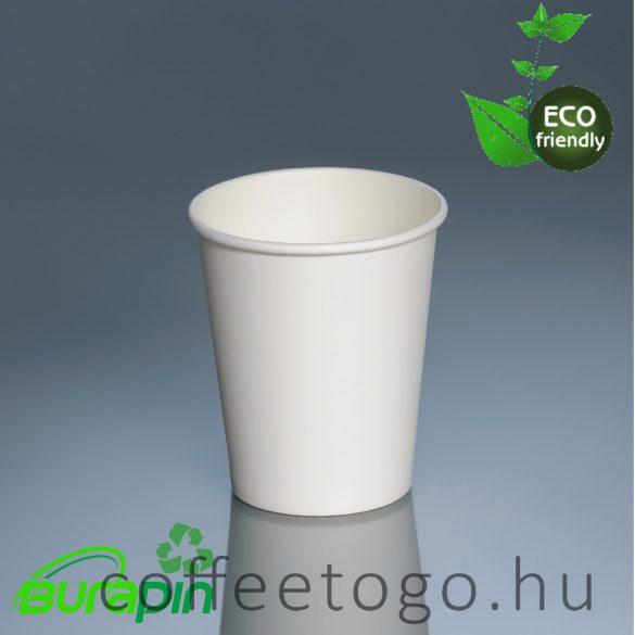 100% műanyag mentes papírpohár, fehér 220ml