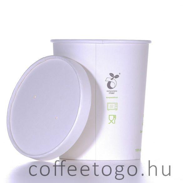 Lebomló leveses papírtégelyhez lebomló papírtető (115mm) fehér